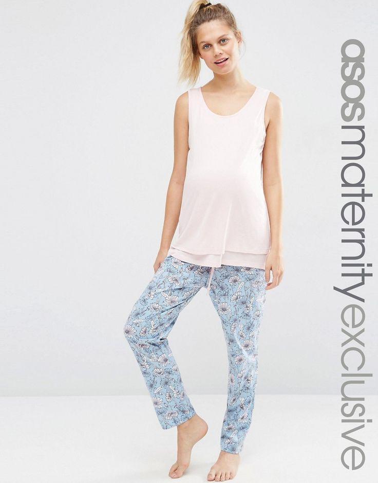 313eac2a41 asos-maternity-nursing-hawaiian-print-pajama-shirt-short-set-pink