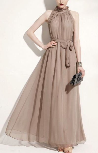 Khaki Mandarin Collar Sleeveless Maxi Chiffon Dress