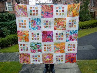 This Creative Bliss: Bloggers Quilt Festival Spring 2013 - Doublesided QAYG Flora Quilt