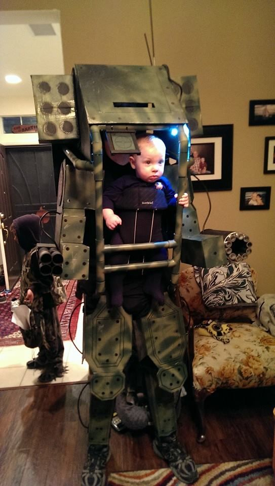 my 6 mo old son in his mech warrior costume for halloween - Aliens Halloween Costume Baby
