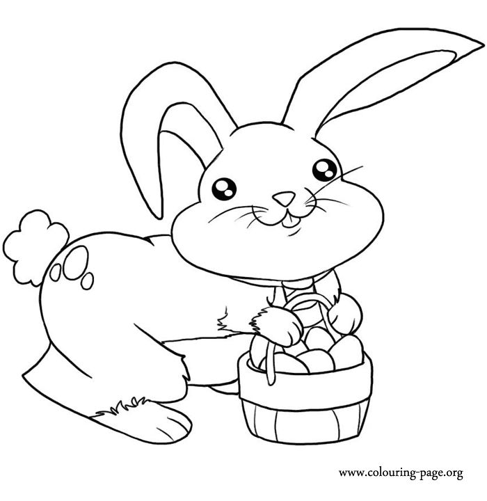 Mrs Bunny With A Basket Of Easter Eggs Coloring Page: 61 Best Easter Images On Pinterest