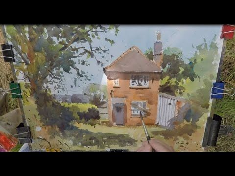 Part 1 Watercolour demo How to Paint an abandoned Cottage - YouTube