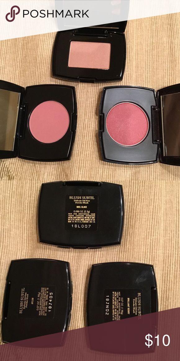 3 Lancôme Blush Subtil set Colors - Brilliant Berry, Aplum, Miel Glace. Sizes- 0.07 oz, 0.07 oz, 0.088 oz. Lancome Makeup Blush