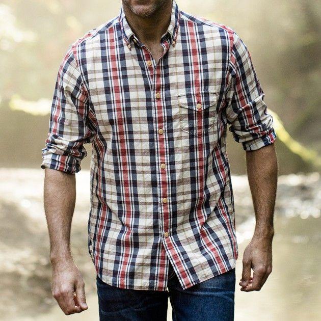 Men's Indigo Bleeder Madras Shirts | Guideboat Company