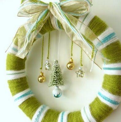 ||| winter solstice holiday season Yule wreath yarn door hang gift decoration