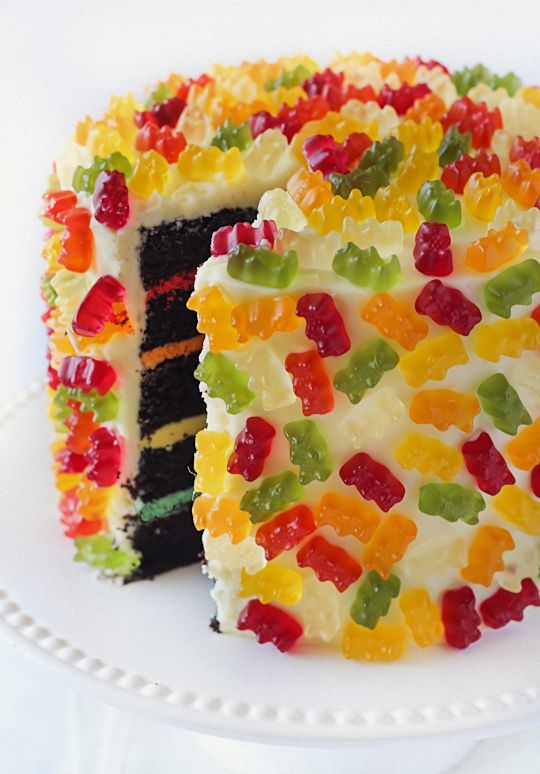 Gummy Bear Layer Cake Love the different colour icing layers, could change it up with m and m's or smarties