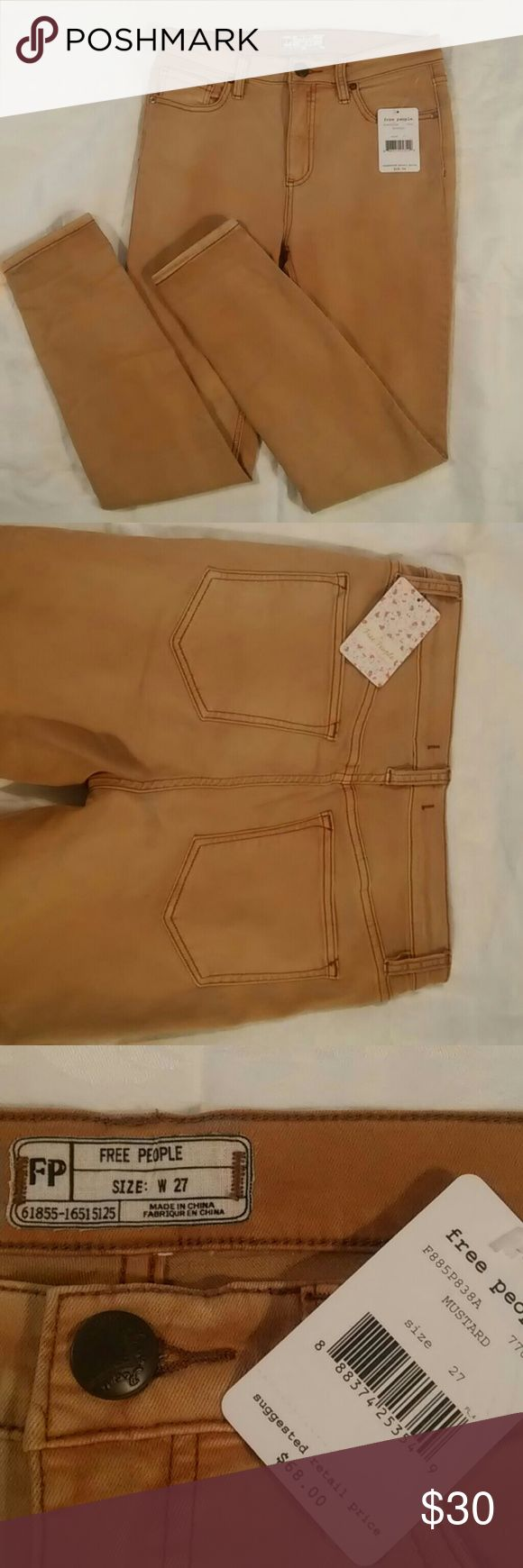 "NWT Free People Mustard Jeans 5 pockets jeans with stretch.  4.5"" zipper, 25.5"" inseam, and ~5"" width leg opening. Free People Jeans Skinny"