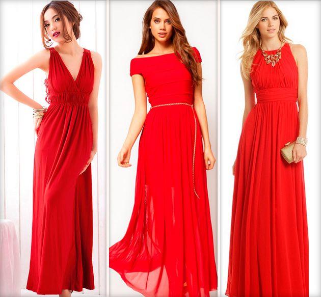 Длинные красные платья в пол