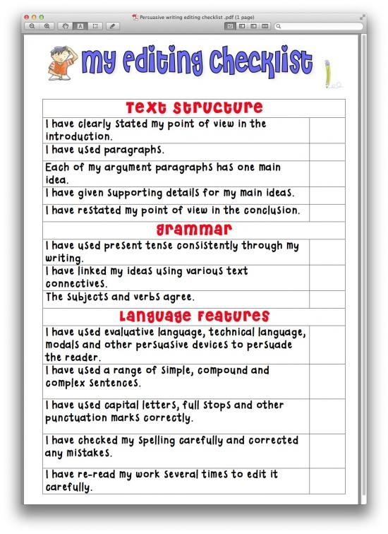 persuasive essay editing sheet Persuasive essay peer editing checklist this detailed rubric and checklist is a helpful tool to make your peer editing run smoothly this rubric is student-friendly and can be modified for any type of 5 paragraph essay.