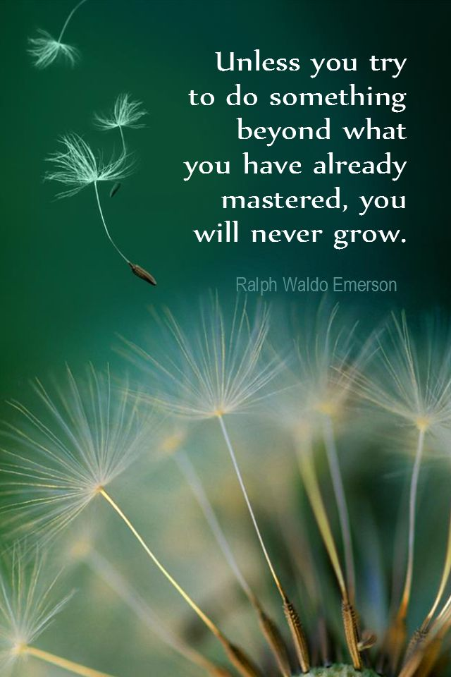 Daily Quotation for September 18, 2015  #quote  #quoteoftheday -      Unless you try to do something beyond what you have already mastered, you will never grow. – Ralph Waldo Emerson