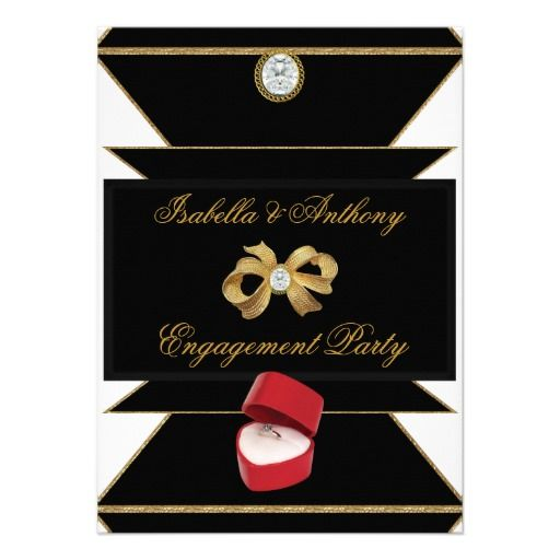 Engagement Gold Diamond Ring Red Black Party Custom Invitations