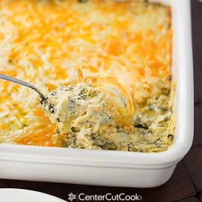 Creamy, cheesy, warm Spinach Artichoke Dip made with four different types of cheese! This stuff is goooood!