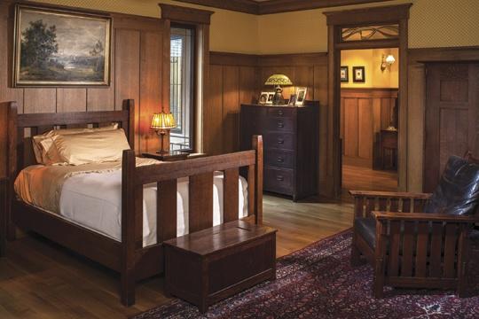 master bedroom is all gustav stickley, save for the l. & j.g.