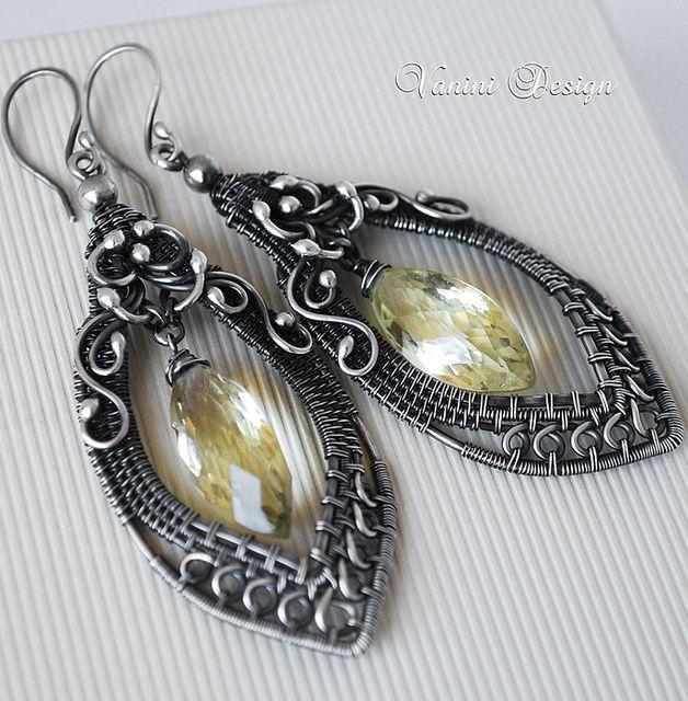 Falling Leaf- Fine/Sterling silver and Lemon quartz earrings, via Flickr.