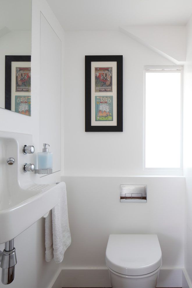 Small powder room powder room contemporary with narrow window small bathroom ideas