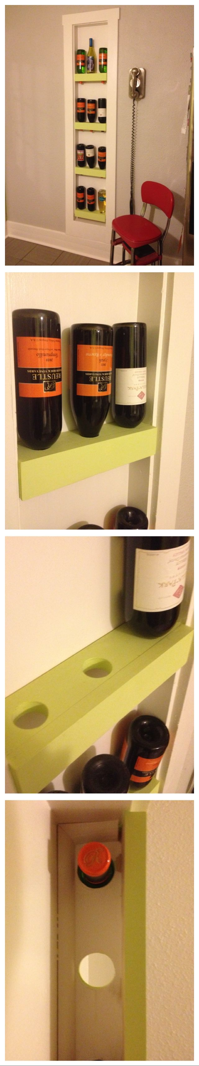 Built in ironing board cabinet turned into a wine rack for Built in place kitchen cabinets