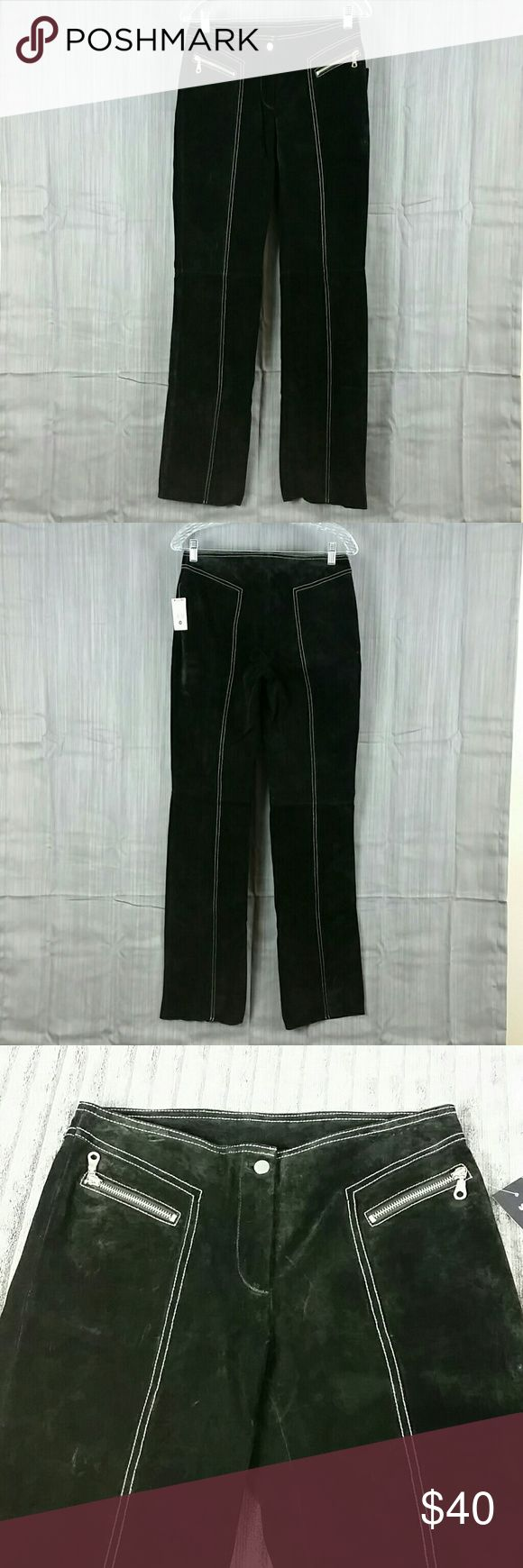 """Wilson Leather Maxima Black Suede Pants w/Tag Very nice pants.  Black with white stitching and 2 front zippered pockets.  They were pre-owned but never worn still has the tag on them.    100% Leather Shell,  100% Nylon Lining.     Measurements laying flat:  Waist 14"""",  Rise 12"""",  Inseam 34"""",  Thigh 9"""",  Leg Cuff 7.5"""" Wilsons Leather Pants"""