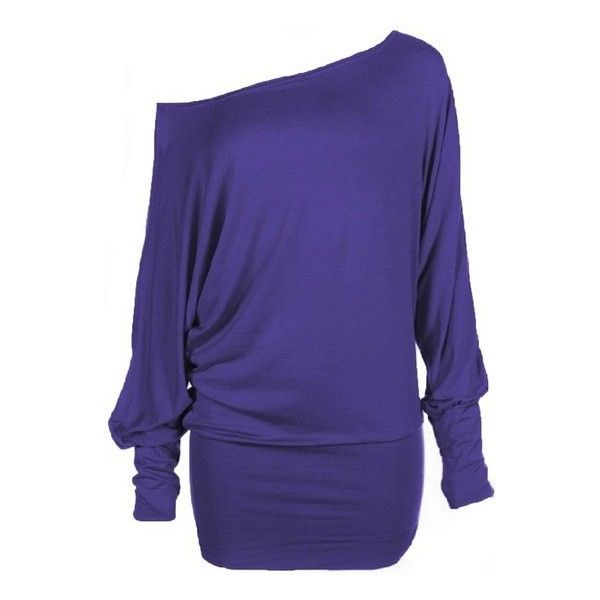 Forever Womens Long Sleeves Plus Size Plain Off Shoulder Batwing... ($14) ❤ liked on Polyvore featuring tops, blue off the shoulder top, batwing top, long sleeve tops, stretch top and off the shoulder batwing top