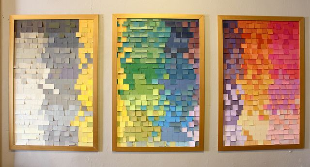 Fun Framed Wall Art with Post-its by Kara Paslay | Frames painted with Olympic Gold Metallic Paint by Modern Masters