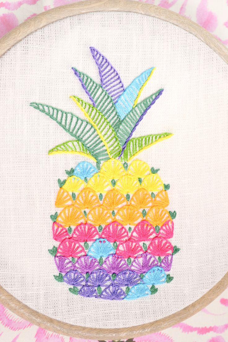 Hand embroidery Pineapple Aloha Wall Art Rainbow Colorful