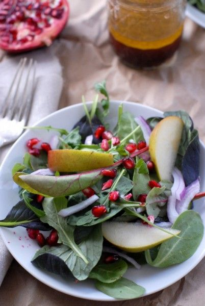 the Best Winter Salad: Pomegranate and Pear Winter Salad with Apple Cider Vinaigrette  FROM BoulderLocavore