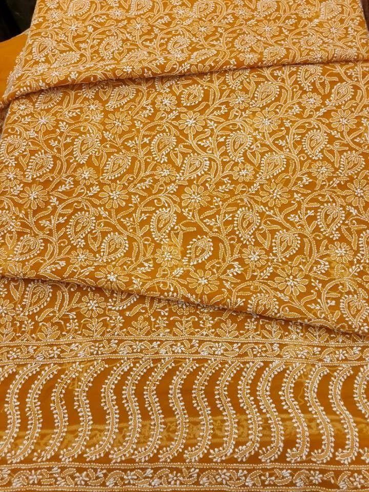 Designer Lucknavi Chikan Georgette Suit Length with very fine chikankari & stylish daaman #chikankari $52.99
