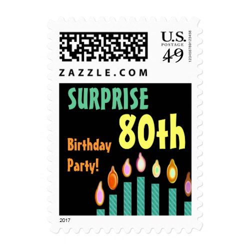 80th SURPRISE Birthday Party Stamp - Teal Candles