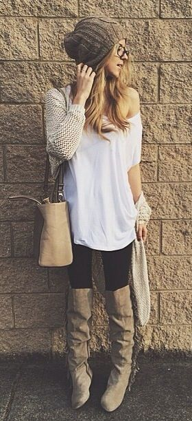 No exposed shoulder, but love the tee, sweater, leggings and boots!