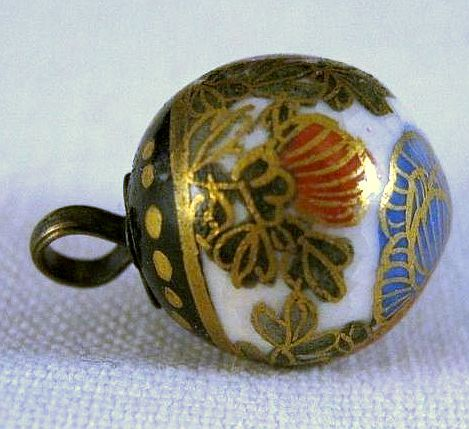 Antique satsuma ball shape button w/chrysanthemums and lots of gold