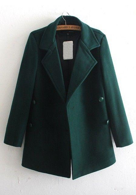 Dark Green Plain Buttons Long Sleeve Wool Coat