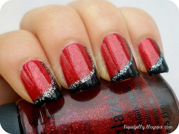 Red and Black with Silver Glitter.