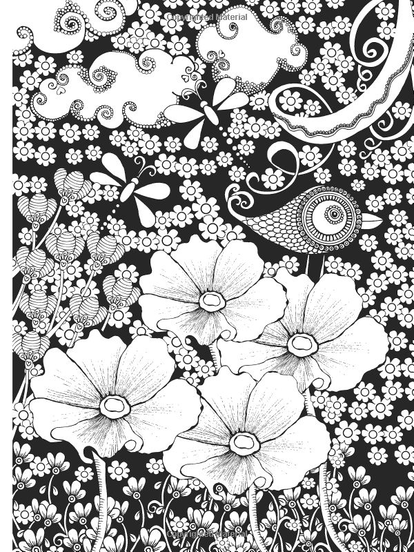 Amazon Creative Haven Midnight Garden Coloring Book Heart Flower Designs On