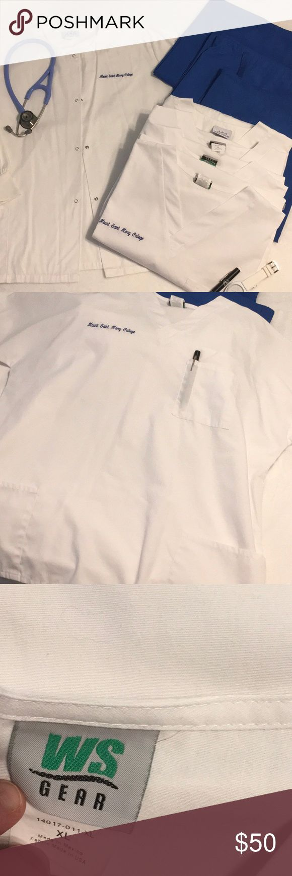 MSMC Clinical Scrub Bundle 👩🏻⚕️ Scrub bundle includes:  One XL white warm up coat  Four XL white front pocket scrub tops  Three XL royal blue scrub pants Any one attending MSMC- Nursing? Purchased full set for clinical rotation, unfortunately I got sick and had to leave program. My loss your gain. Paid 250 for all. Make an offer. Great condition. 👍🏻 (FYI-Stethoscope is not included or for sale!) Tops Tees - Short Sleeve