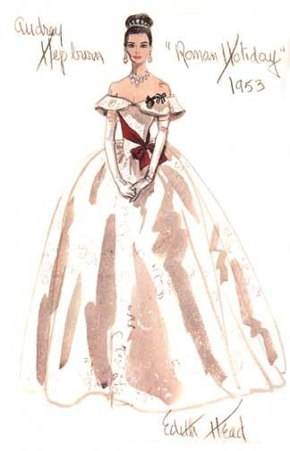 Edith Head sketch for Audrey Hepburn in Roman Holiday (1953) The fabric highlights have the majority with the real hue being defined only in the folds and recesses of shadow,