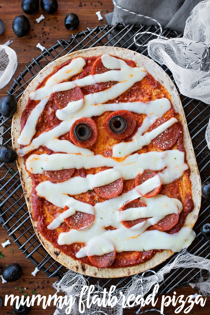 Food faith amp design thanksgiving goodies - Flatbread Mummy Pizza Is A Simple Spooky And Delicious Recipe That The Kids Will Love