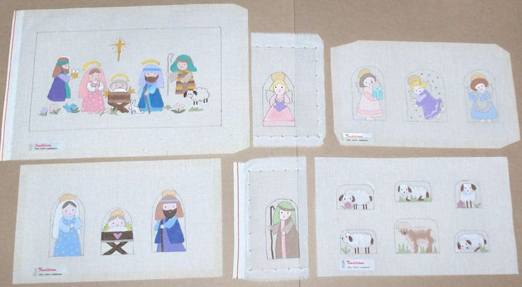 Betty Smith 15 Pc Handpainted Needlepoint Canvas Christmas Nativity Set #TraditionsBettySmith