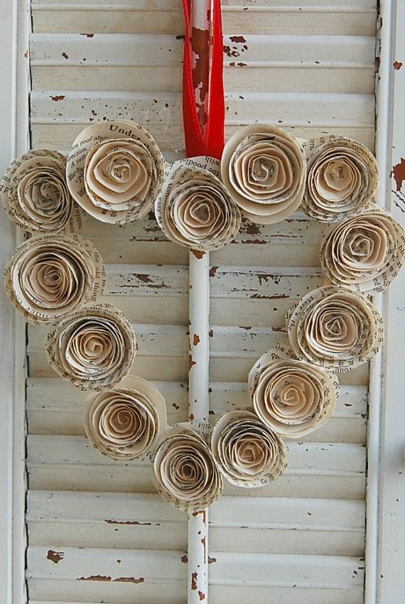 Paper Rose Heart Wreath Book Pages Valentines Day by roseflower48, $10.00