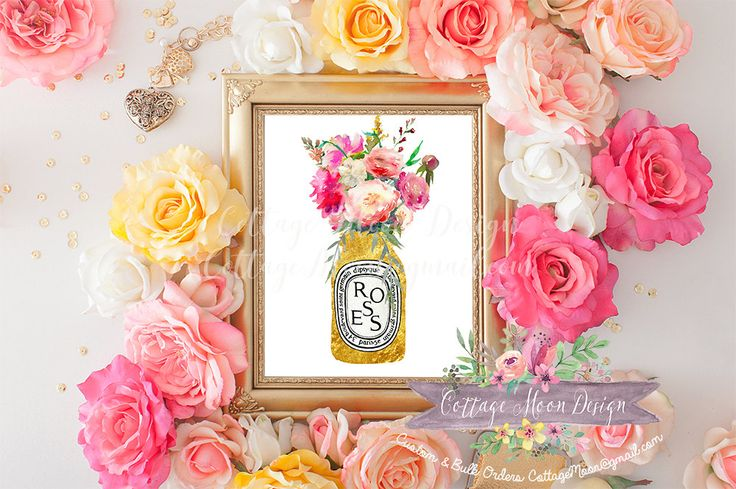 Diptyque Roses Peonies Bouquet Mason Jar Gold Foil Fashion Printable Print Sign Stationery Greeting Card Bath Home Decor Instant Download by CottageMoonDesign on Etsy