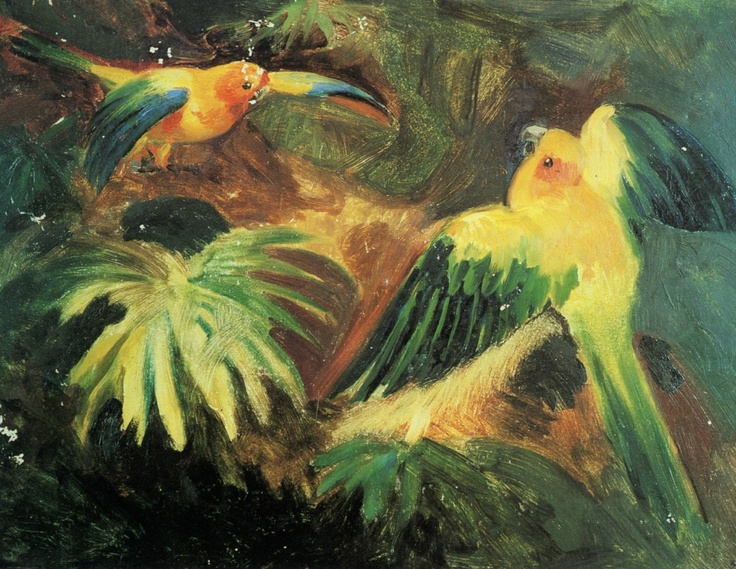 Three parrots in the forest by Johan Moritz Rugendas (1802-1855)