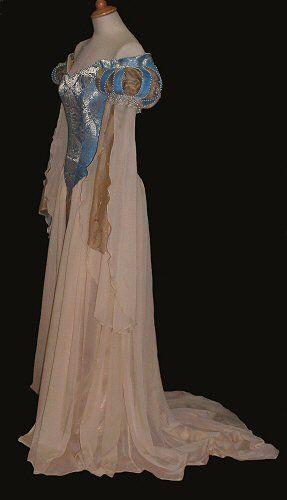 Gold Blue Wedding Dress Gown