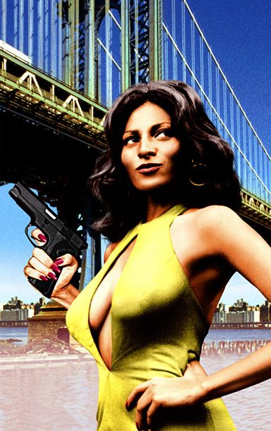 Foxy Brown. Cross this gun-toting goddess and she will have ya man's nuts...literally!
