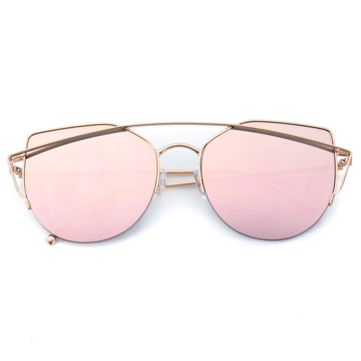 Feel like a celebrity with this cute baby pink sunnies! Semi-rimless style with silver or gold frames. Dimensions: Frame Width: 150 mm Lens Width: 60 mm Lens Height: 55 mm