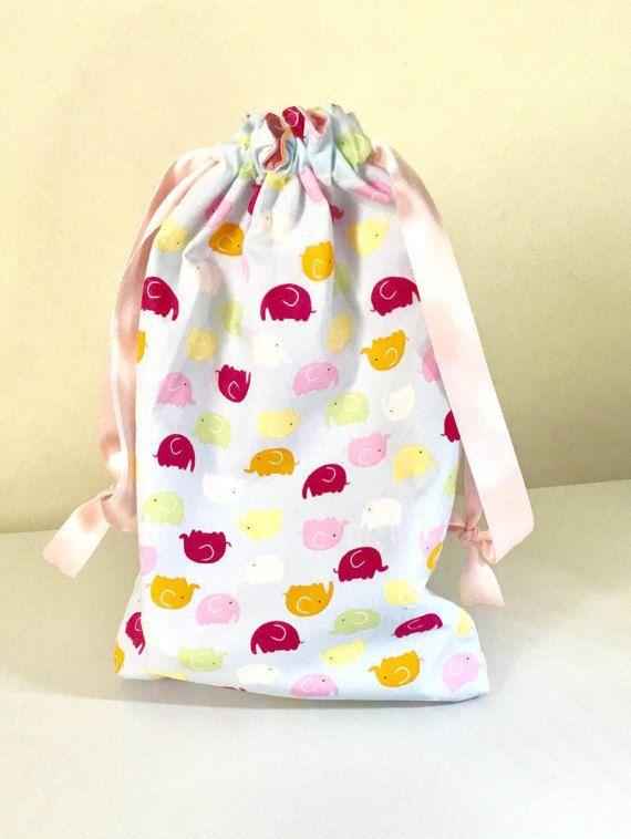 Elephant drawstring bag project bag cotton drawstring bag