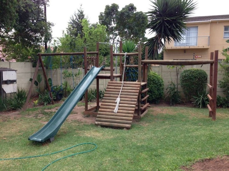 Kids wooden jungle gym for my grandkids pinterest for Kids wooden treehouse