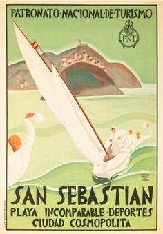 La playa de San Sebastian en un cartel antiguo de turismo de España / via #Viajology