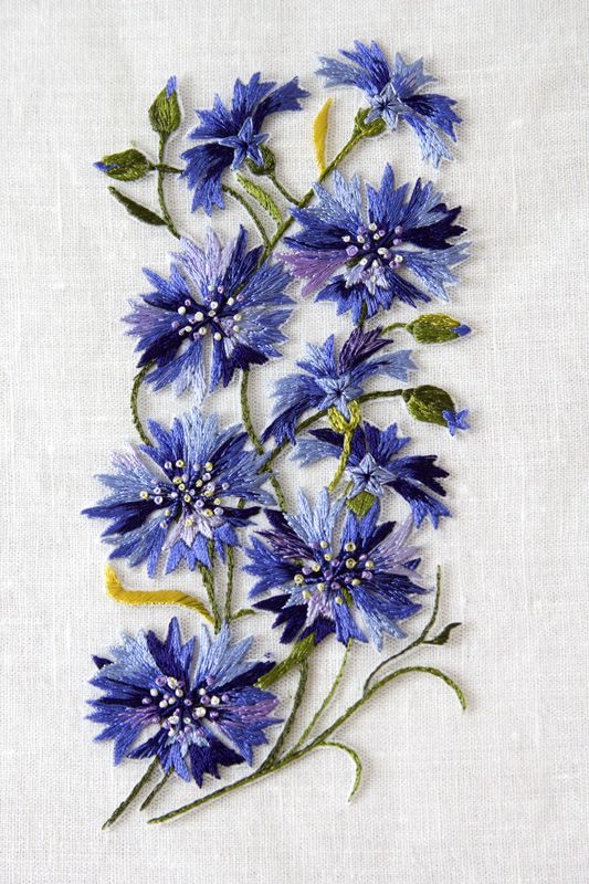 Cornflowers / Rukkililled. Hand embroidery on tulle - Gorgeous Color & Stitching!