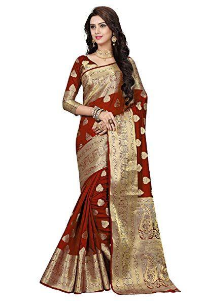 505f19a0d6599 Ramapir Fashion Women s Banarasi Silk Saree ( B FB NEW SOHAM  MAROON Maroon Free ...