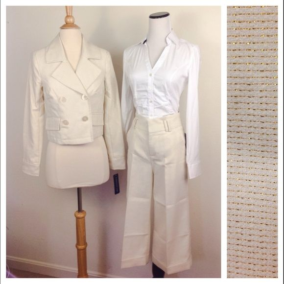 NWT Cream Gold Blazer & Pants Culottes Suit Set BRAND NEW WITH TAGS. Blazer: Size SMALL. Pants: Size 1. Rampage Jackets & Coats Blazers