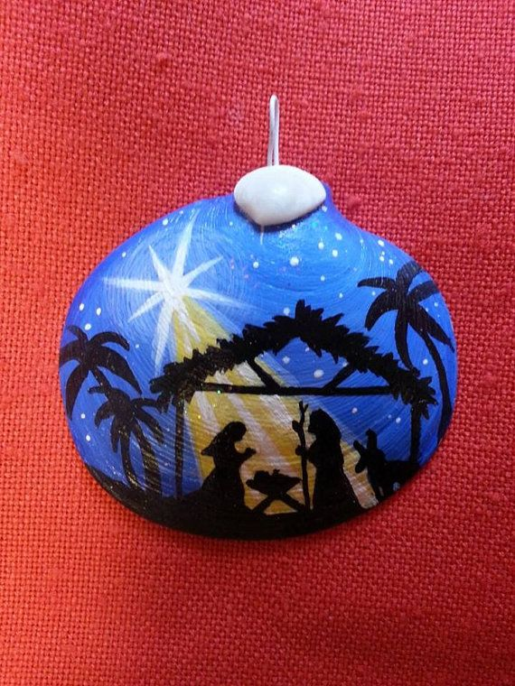 Nativity ornament hand painted clam shell by TheSeashellStudio, $14.99