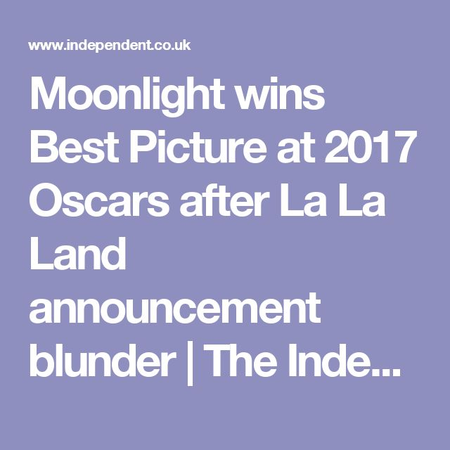 Moonlight wins Best Picture at 2017 Oscars after La La Land announcement blunder | The Independent